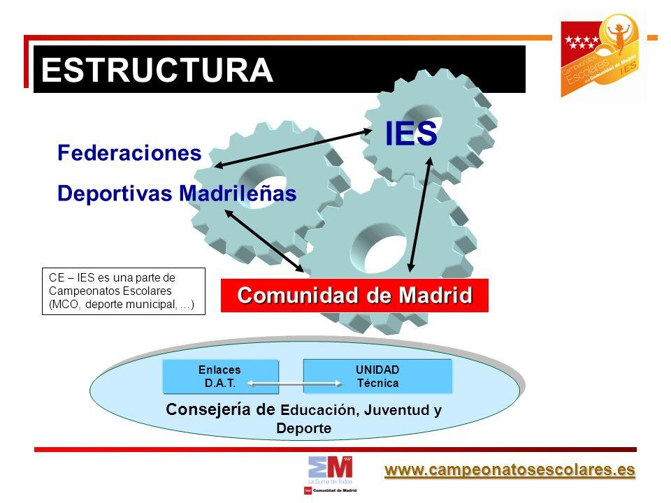 www.campeonatosescolares.es ESTRUCTURA Comunidad de Madrid Federaciones Deportivas Madrileñas Consejería de Educación, Juventud y Deporte Enlaces D.A.T.