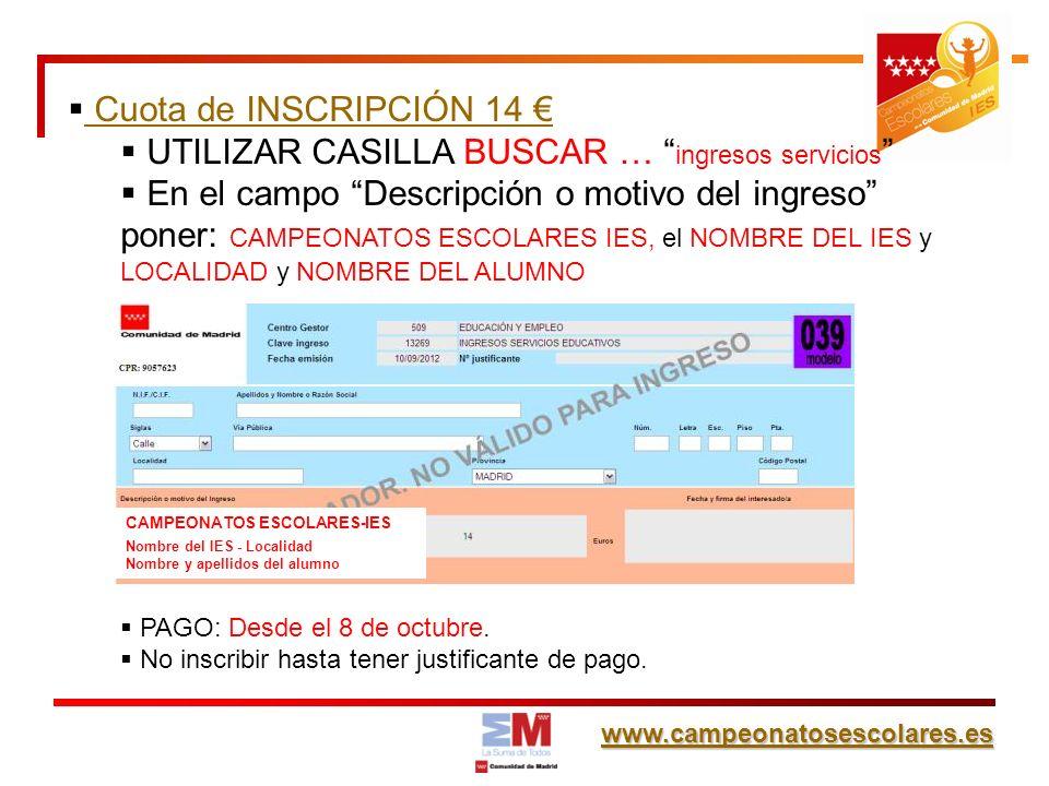 www.campeonatosescolares.es SEGURO ESCOLAR para 3º y 4º ESO, BACHILLERATO y CICLOS FORMATIVOS.