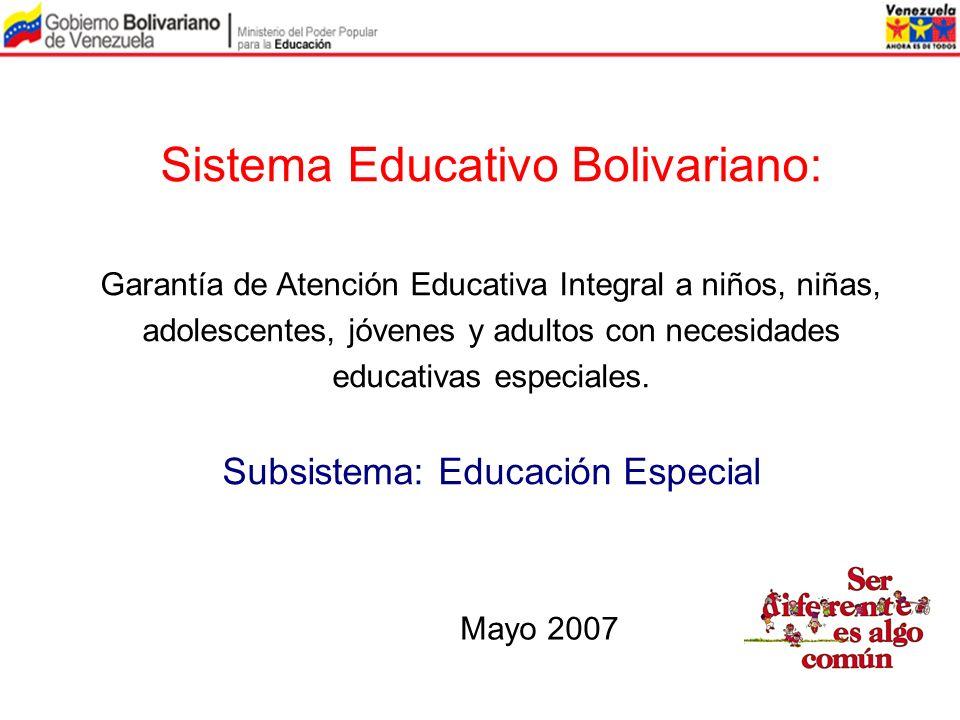Sistema Educativo Bolivariano: Garantía de Atención Educativa Integral a niños, niñas, adolescentes, jóvenes y adultos con necesidades educativas espe