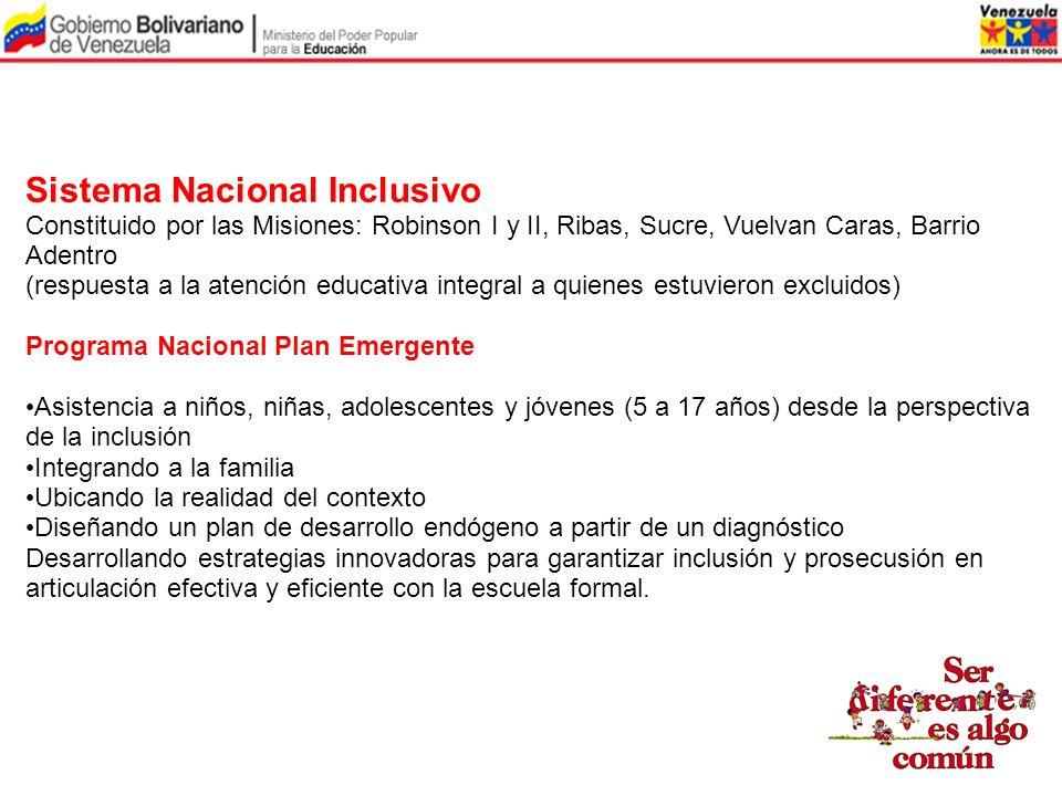 Sistema Nacional Inclusivo Constituido por las Misiones: Robinson I y II, Ribas, Sucre, Vuelvan Caras, Barrio Adentro (respuesta a la atención educati