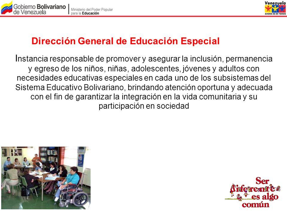 Dirección General de Educación Especial I nstancia responsable de promover y asegurar la inclusión, permanencia y egreso de los niños, niñas, adolesce