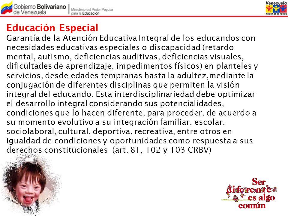 Educación Especial Garantía de la Atención Educativa Integral de los educandos con necesidades educativas especiales o discapacidad (retardo mental, a