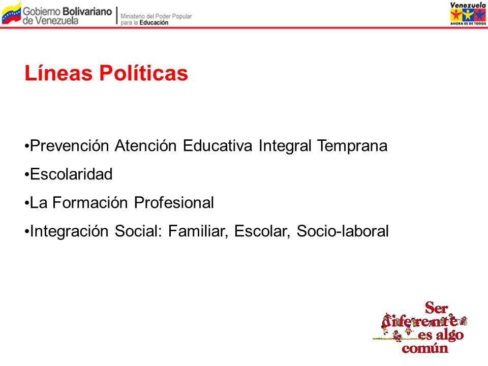 Líneas Políticas Prevención Atención Educativa Integral Temprana Escolaridad La Formación Profesional Integración Social: Familiar, Escolar, Socio-lab