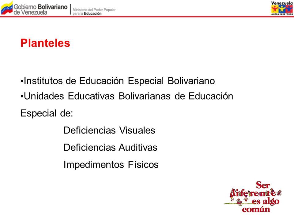 Planteles Institutos de Educación Especial Bolivariano Unidades Educativas Bolivarianas de Educación Especial de: Deficiencias Visuales Deficiencias A