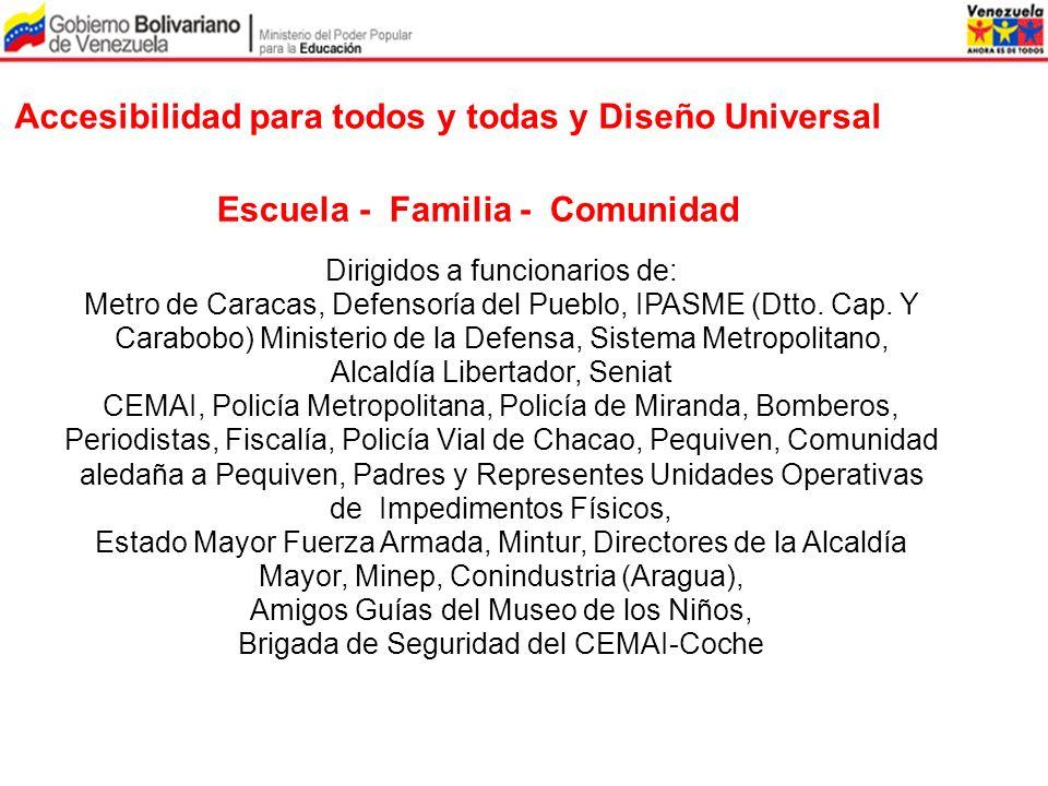 Accesibilidad para todos y todas y Diseño Universal Escuela - Familia - Comunidad Dirigidos a funcionarios de: Metro de Caracas, Defensoría del Pueblo