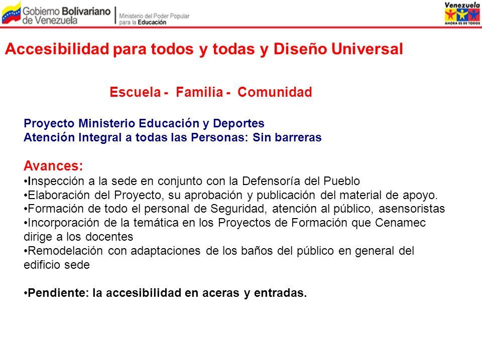 Accesibilidad para todos y todas y Diseño Universal Proyecto Ministerio Educación y Deportes Atención Integral a todas las Personas: Sin barreras Avan