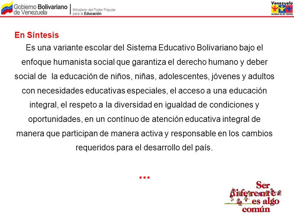En Síntesis Es una variante escolar del Sistema Educativo Bolivariano bajo el enfoque humanista social que garantiza el derecho humano y deber social