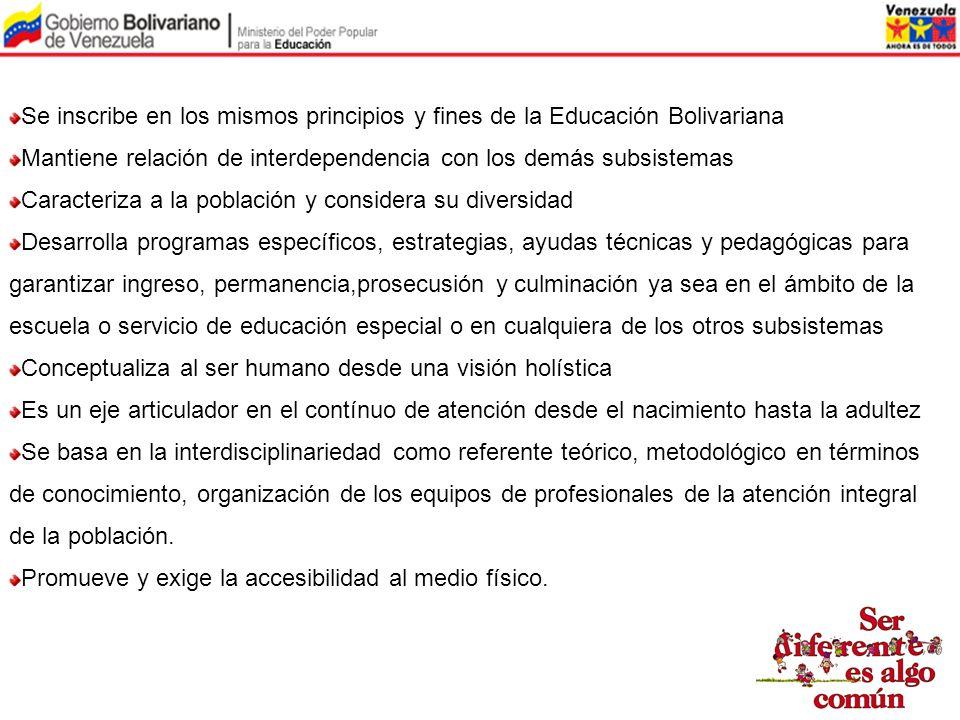 Se inscribe en los mismos principios y fines de la Educación Bolivariana Mantiene relación de interdependencia con los demás subsistemas Caracteriza a