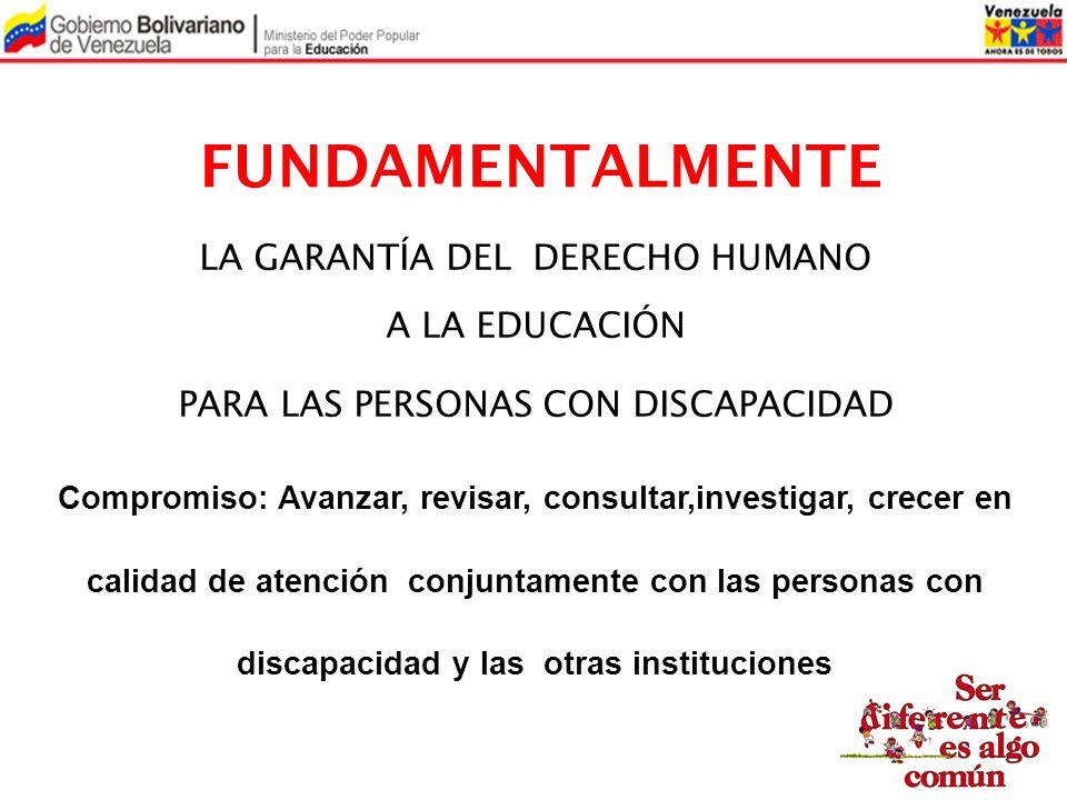 FUNDAMENTALMENTE LA GARANTÍA DEL DERECHO HUMANO A LA EDUCACIÓN PARA LAS PERSONAS CON DISCAPACIDAD Compromiso: Avanzar, revisar, consultar,investigar,