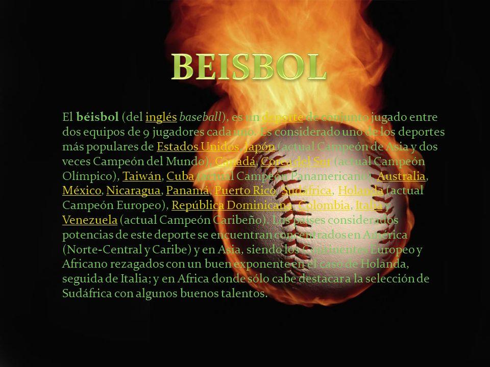 El béisbol (del inglés baseball), es un deporte de conjunto jugado entre dos equipos de 9 jugadores cada uno. Es considerado uno de los deportes más p
