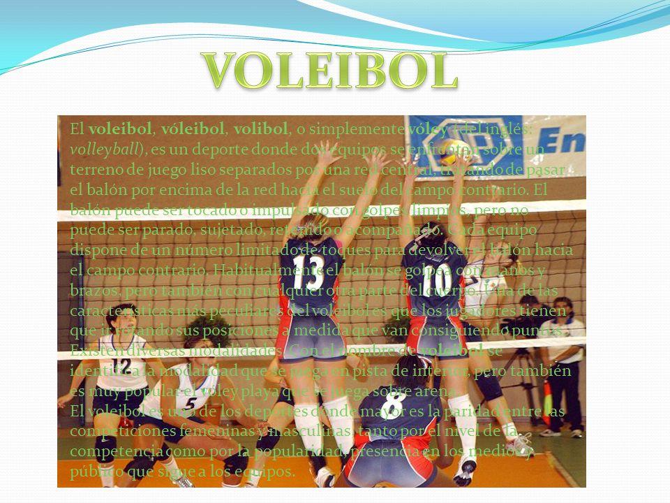 El voleibol, vóleibol, volibol, o simplemente vóley (del inglés: volleyball), es un deporte donde dos equipos se enfrentan sobre un terreno de juego l