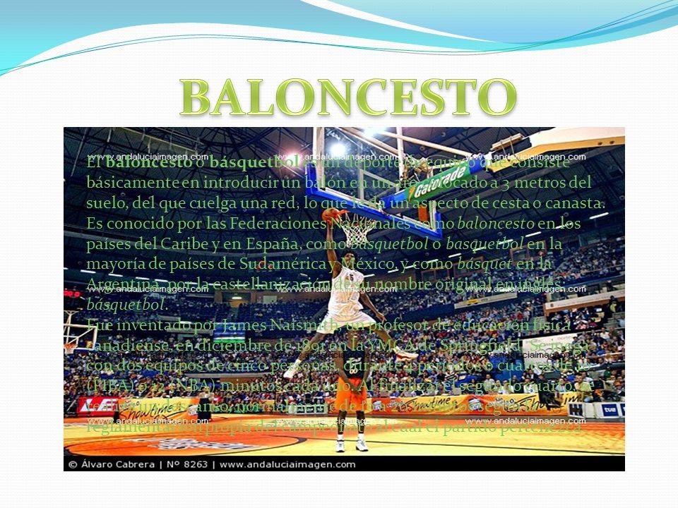 El baloncesto o básquetbol es un deporte de equipo que consiste básicamente en introducir un balón en un aro colocado a 3 metros del suelo, del que cu