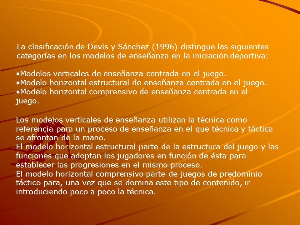 La clasificación de Devís y Sánchez (1996) distingue las siguientes categorías en los modelos de enseñanza en la iniciación deportiva: Modelos vertica