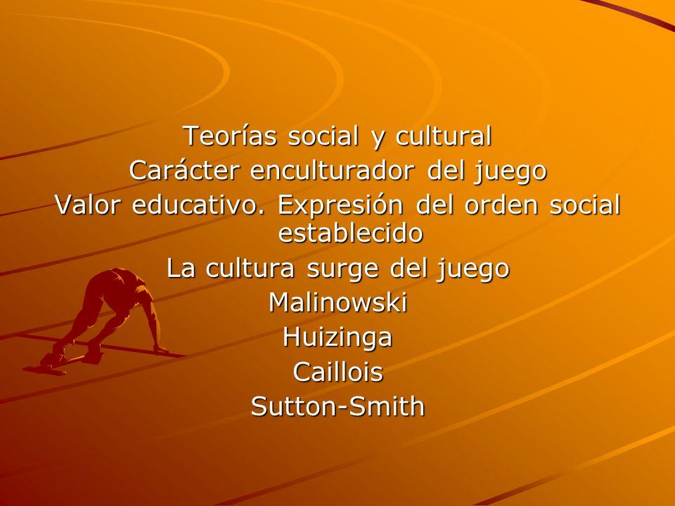 Teorías social y cultural Carácter enculturador del juego Valor educativo. Expresión del orden social establecido La cultura surge del juego Malinowsk