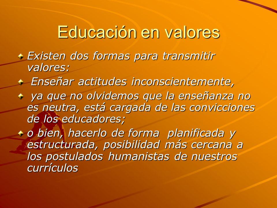 Educación en valores Existen dos formas para transmitir valores: Enseñar actitudes inconscientemente, Enseñar actitudes inconscientemente, ya que no o