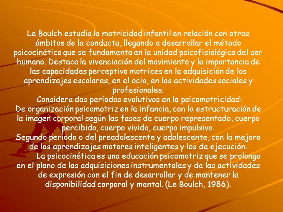 Le Boulch estudia la motricidad infantil en relación con otros ámbitos de la conducta, llegando a desarrollar el método psicocinético que se fundament