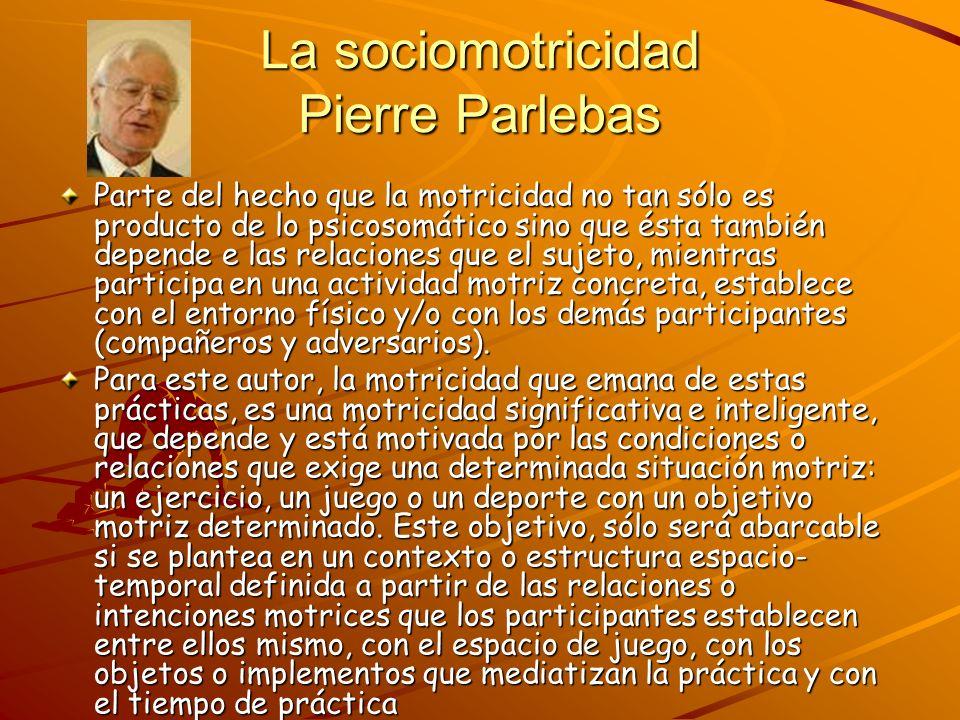 La sociomotricidad Pierre Parlebas Parte del hecho que la motricidad no tan sólo es producto de lo psicosomático sino que ésta también depende e las r