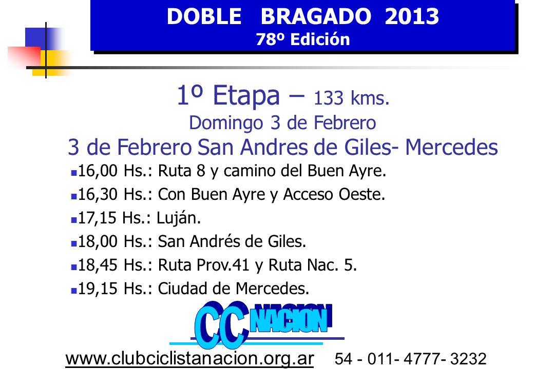 DOBLE BRAGADO 2013 78º Edición DOBLE BRAGADO 2013 78º Edición www.clubciclistanacion.org.ar 54 - 011- 4777- 3232 Lujan Calle 29 San Andrés de Giles 5 Caseros 7 Av.