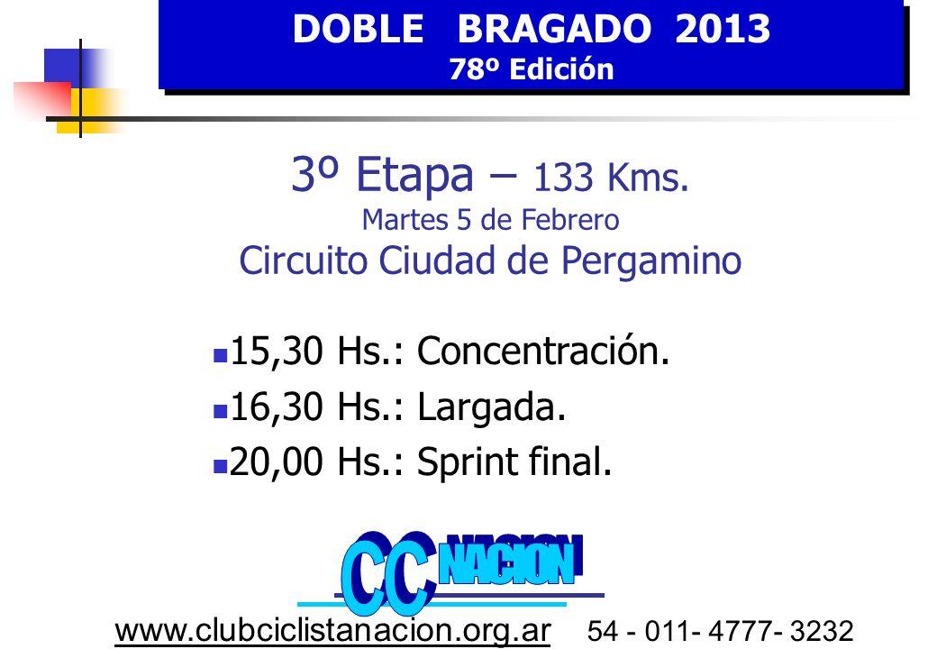 DOBLE BRAGADO 2013 78º Edición DOBLE BRAGADO 2013 78º Edición www.clubciclistanacion.org.ar 54 - 011- 4777- 3232 3º E tapa MARTES 5 FEBRERO Embalaje Bonificable Vuelta 20 3º3º 35 GIROS Circuito 3800 MTRS.