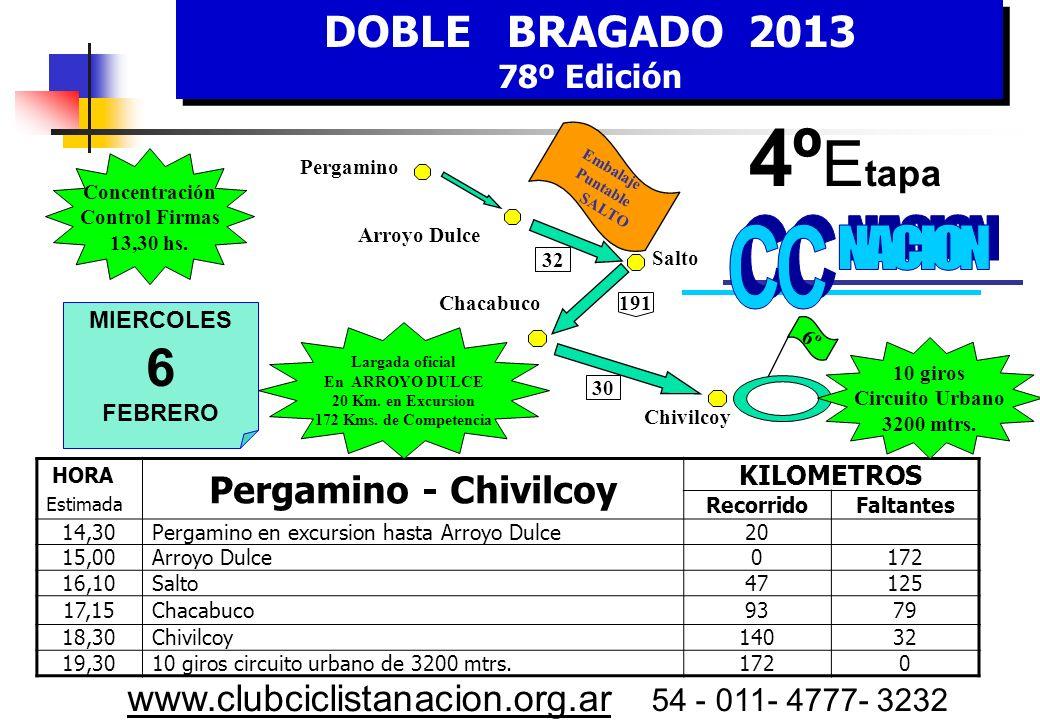 DOBLE BRAGADO 2013 78º Edición DOBLE BRAGADO 2013 78º Edición www.clubciclistanacion.org.ar 54 - 011- 4777- 3232 3º Etapa – 133 Kms.