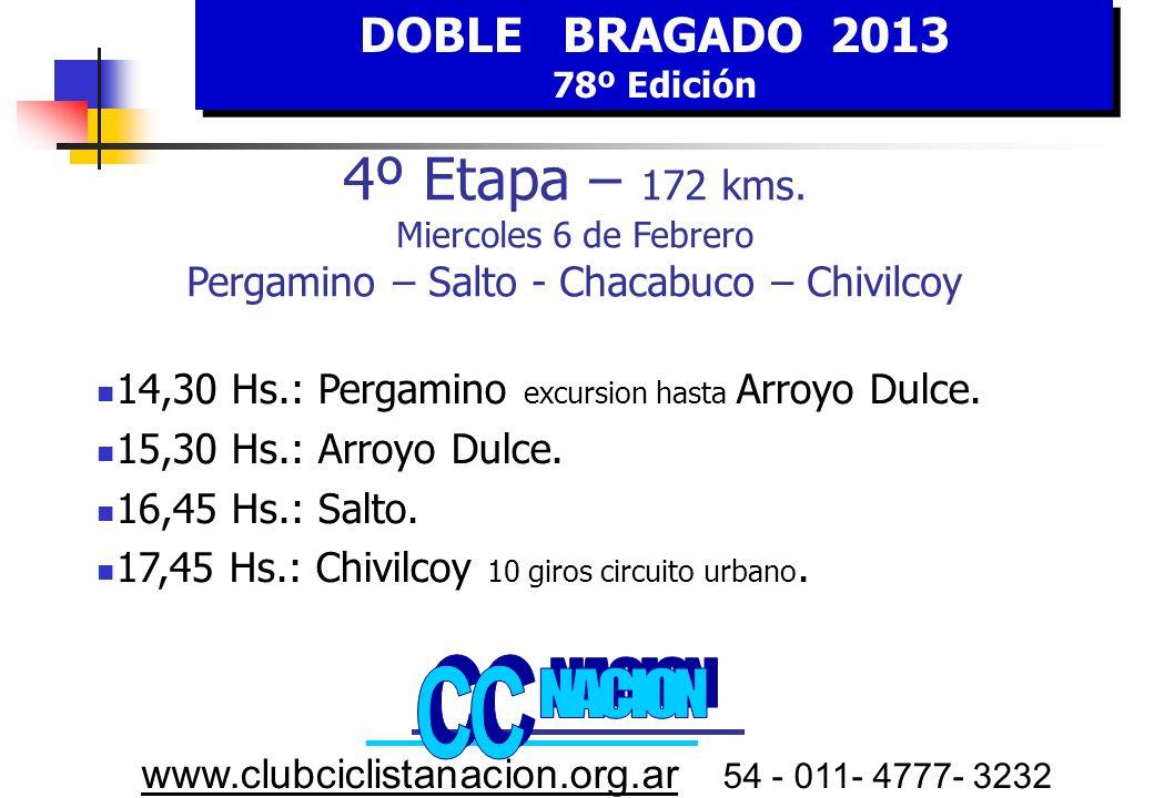 DOBLE BRAGADO 2013 78º Edición DOBLE BRAGADO 2013 78º Edición www.clubciclistanacion.org.ar 54 - 011- 4777- 3232 4º E tapa MIERCOLES 6 FEBRERO HORA Estimada Pergamino - Chivilcoy KILOMETROS RecorridoFaltantes 14,30Pergamino en excursion hasta Arroyo Dulce20 15,00Arroyo Dulce0172 16,10Salto47125 17,15Chacabuco9379 18,30Chivilcoy14032 19,3010 giros circuito urbano de 3200 mtrs.1720 Pergamino Embalaje Puntable SALTO 6º Salto Largada oficial En ARROYO DULCE 20 Km.