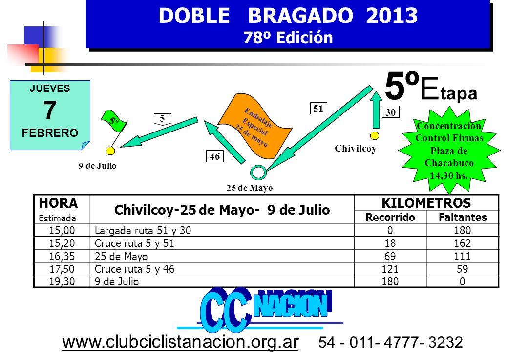DOBLE BRAGADO 2013 78º Edición DOBLE BRAGADO 2013 78º Edición www.clubciclistanacion.org.ar 54 - 011- 4777- 3232 4º Etapa – 172 kms.