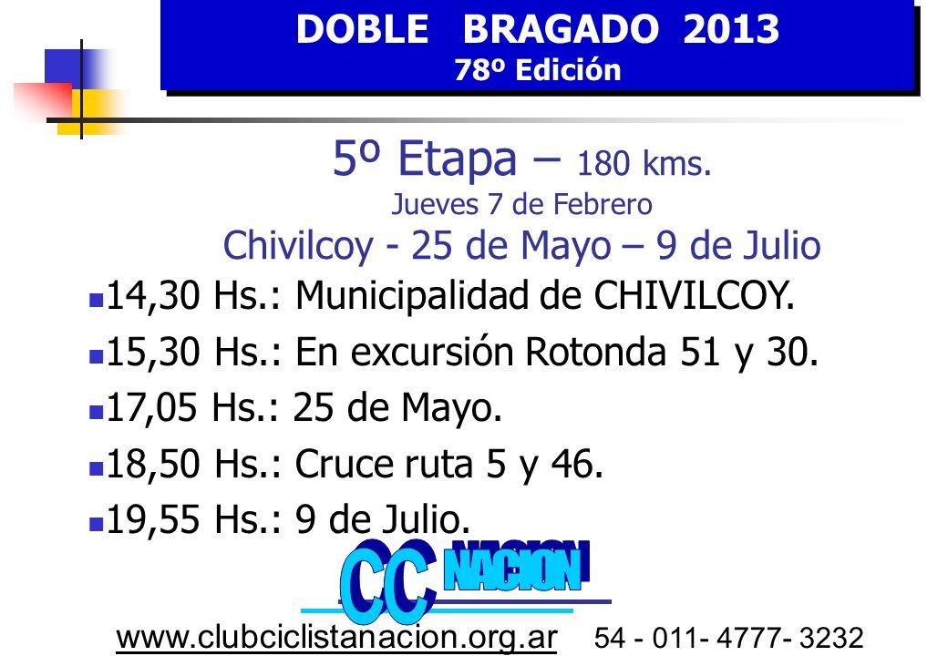 DOBLE BRAGADO 2013 78º Edición DOBLE BRAGADO 2013 78º Edición www.clubciclistanacion.org.ar 54 - 011- 4777- 3232 5º E tapa JUEVES 7 FEBRERO HORA Estimada Chivilcoy-25 de Mayo- 9 de Julio KILOMETROS RecorridoFaltantes 15,00Largada ruta 51 y 300180 15,20Cruce ruta 5 y 5118162 16,3525 de Mayo69111 17,50Cruce ruta 5 y 4612159 19,309 de Julio1800 Chivilcoy Embalaje Especial 25 de mayo 5º Concentración Control Firmas Plaza de Chacabuco 14,30 hs.