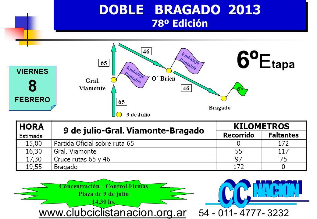 DOBLE BRAGADO 2013 78º Edición DOBLE BRAGADO 2013 78º Edición www.clubciclistanacion.org.ar 54 - 011- 4777- 3232 5º Etapa – 180 kms.