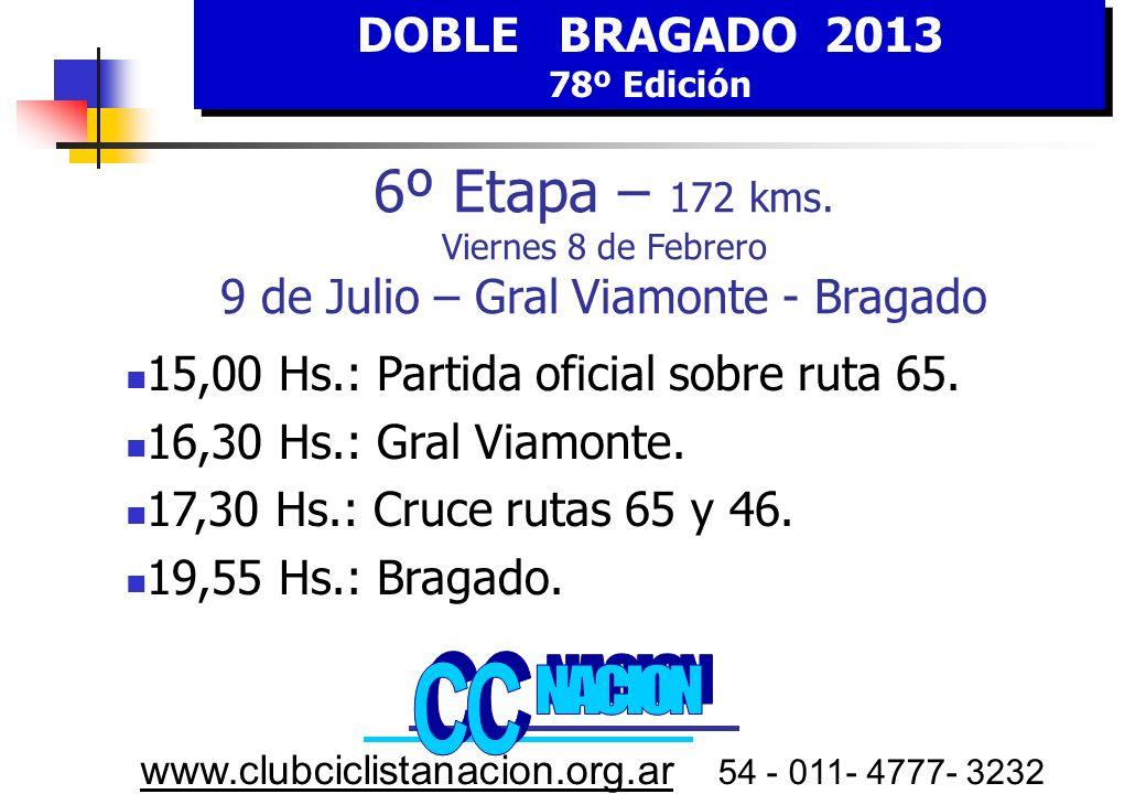DOBLE BRAGADO 2013 78º Edición DOBLE BRAGADO 2013 78º Edición www.clubciclistanacion.org.ar 54 - 011- 4777- 3232 6º E tapa VIERNES 8 FEBRERO HORA Estimada 9 de julio-Gral.