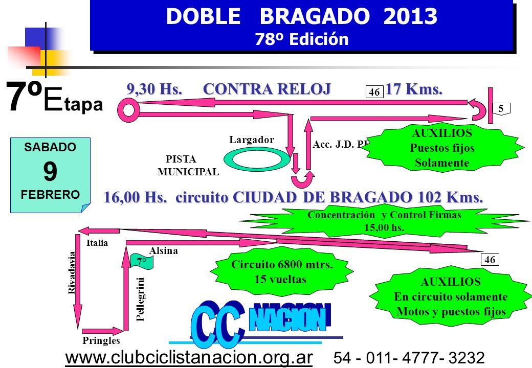 DOBLE BRAGADO 2013 78º Edición DOBLE BRAGADO 2013 78º Edición www.clubciclistanacion.org.ar 54 - 011- 4777- 3232 6º Etapa – 172 kms.