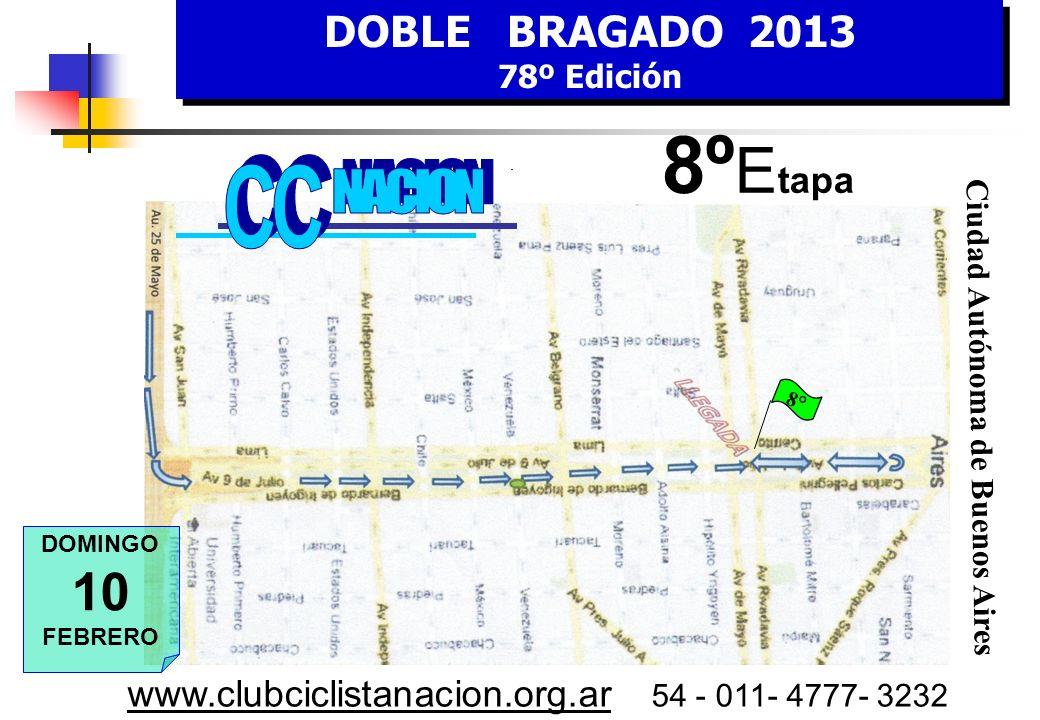 DOBLE BRAGADO 2013 78º Edición DOBLE BRAGADO 2013 78º Edición www.clubciclistanacion.org.ar 54 - 011- 4777- 3232 8º E tapa DOMINGO 10 FEBRERO 1º Embalaje Puntable 8° HORA Estimada Bragado – Ciudad Buenos Aires KILOMETROS RecorridoFaltantes 7,00Bragado se larga en marcha ruta 50213 7,30Alberti19194 8,15Chivilcoy54159 9,30Suipacha84129 10,15Mercedes11895 11,00Luján15261 12,30Buenos Aires – Av.