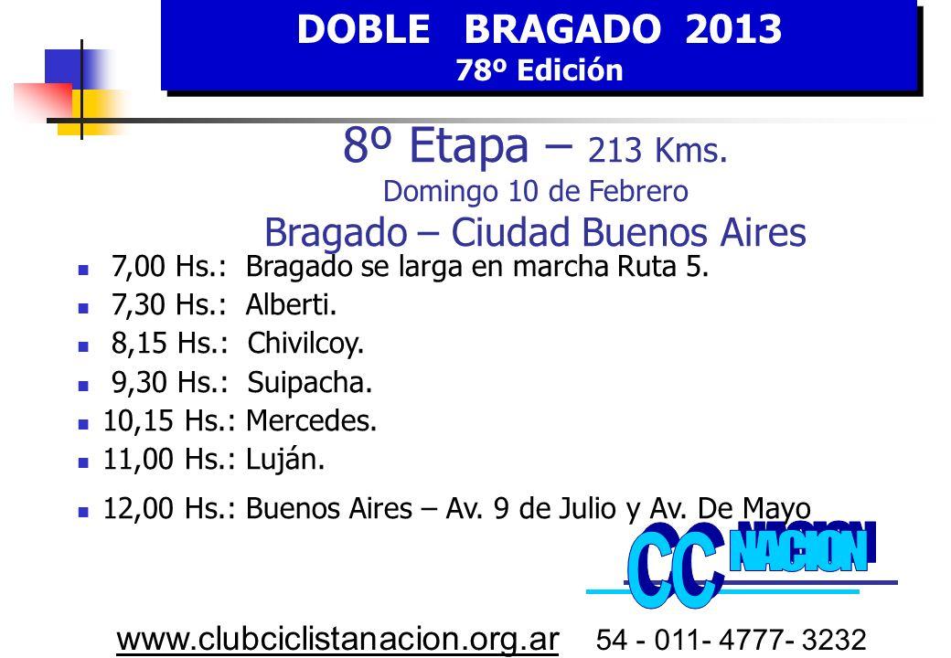 DOBLE BRAGADO 2013 78º Edición DOBLE BRAGADO 2013 78º Edición www.clubciclistanacion.org.ar 54 - 011- 4777- 3232 8º E tapa 8° DOMINGO 10 FEBRERO Ciudad Autónoma de Buenos Aires