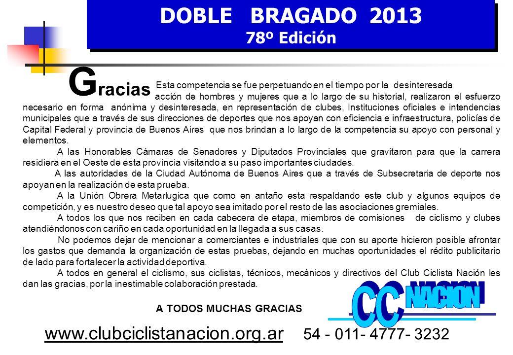 DOBLE BRAGADO 2013 78º Edición DOBLE BRAGADO 2013 78º Edición www.clubciclistanacion.org.ar 54 - 011- 4777- 3232 C omisión de H onor Don Hugo CURTO Don Aldo Omar SAN PEDRO Don Carlos SELVA Dr.