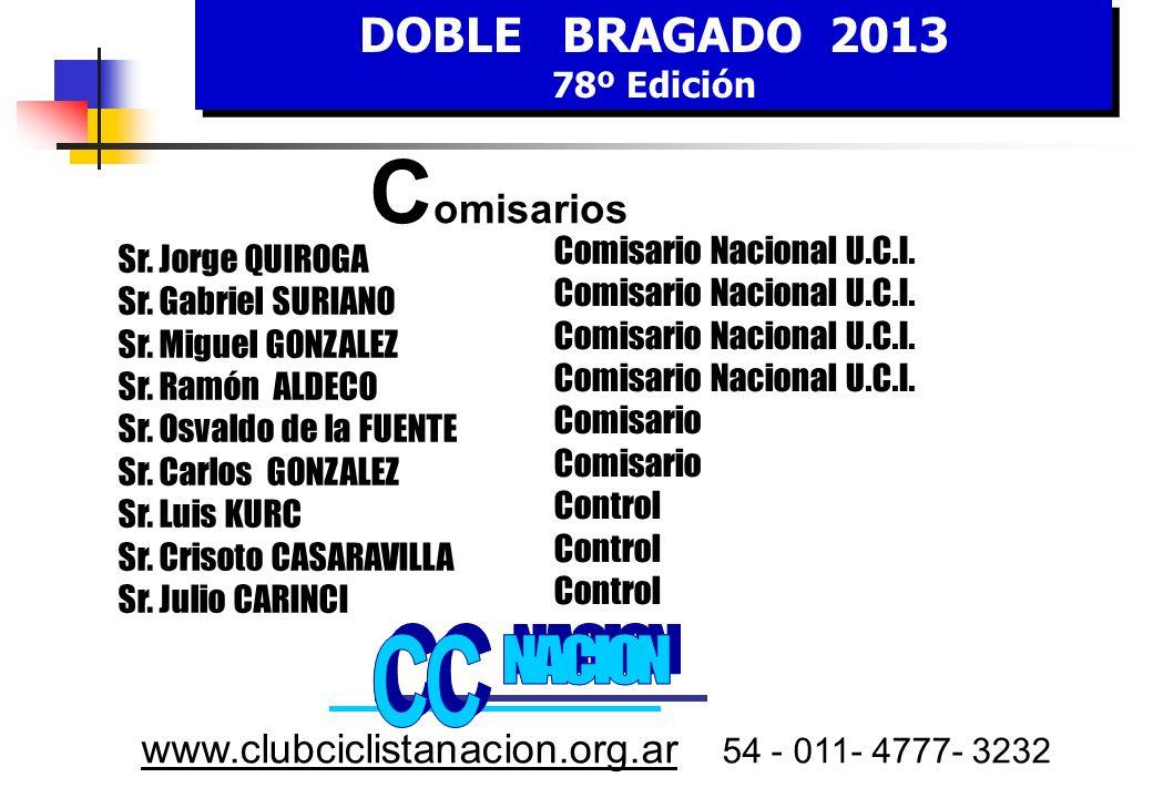 DOBLE BRAGADO 2013 78º Edición DOBLE BRAGADO 2013 78º Edición www.clubciclistanacion.org.ar 54 - 011- 4777- 3232 O rganización Sr.