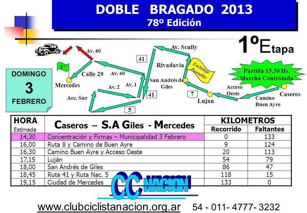 DOBLE BRAGADO 2013 78º Edición DOBLE BRAGADO 2013 78º Edición www.clubciclistanacion.org.ar 54 - 011- 4777- 3232 C omisarios Sr.