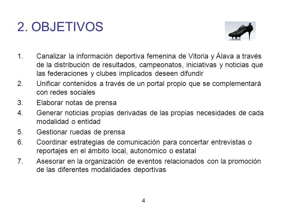 4 2. OBJETIVOS 1.Canalizar la información deportiva femenina de Vitoria y Álava a través de la distribución de resultados, campeonatos, iniciativas y