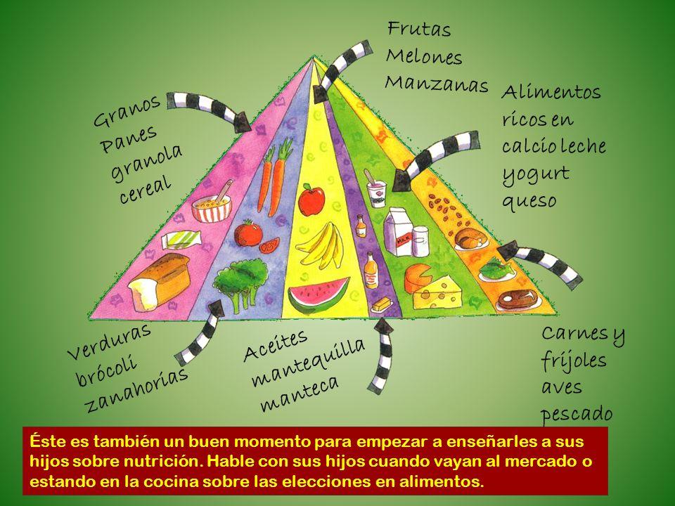 Éste es también un buen momento para empezar a enseñarles a sus hijos sobre nutrición. Hable con sus hijos cuando vayan al mercado o estando en la coc