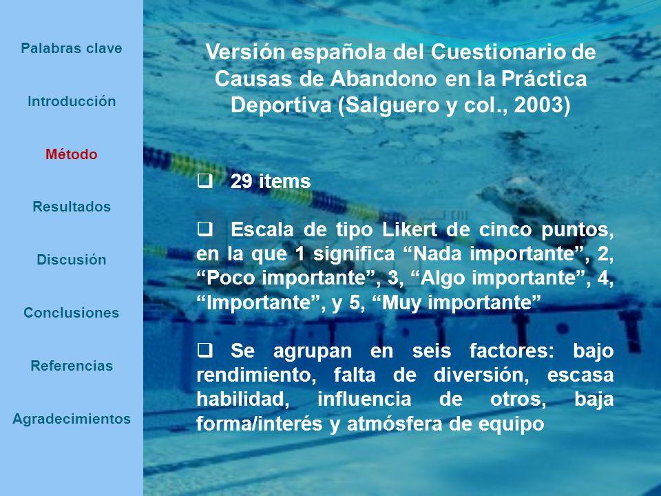 Palabras clave Introducción Método Resultados Discusión Conclusiones Referencias Agradecimientos Versión española del Cuestionario de Causas de Abando