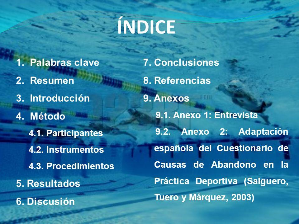 ÍNDICE 1. Palabras clave 2. Resumen 3. Introducción 4. Método 4.1. Participantes 4.2. Instrumentos 4.3. Procedimientos 5. Resultados 6. Discusión 7. C