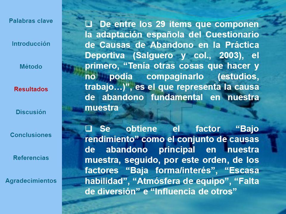 De entre los 29 items que componen la adaptación española del Cuestionario de Causas de Abandono en la Práctica Deportiva (Salguero y col., 2003), el