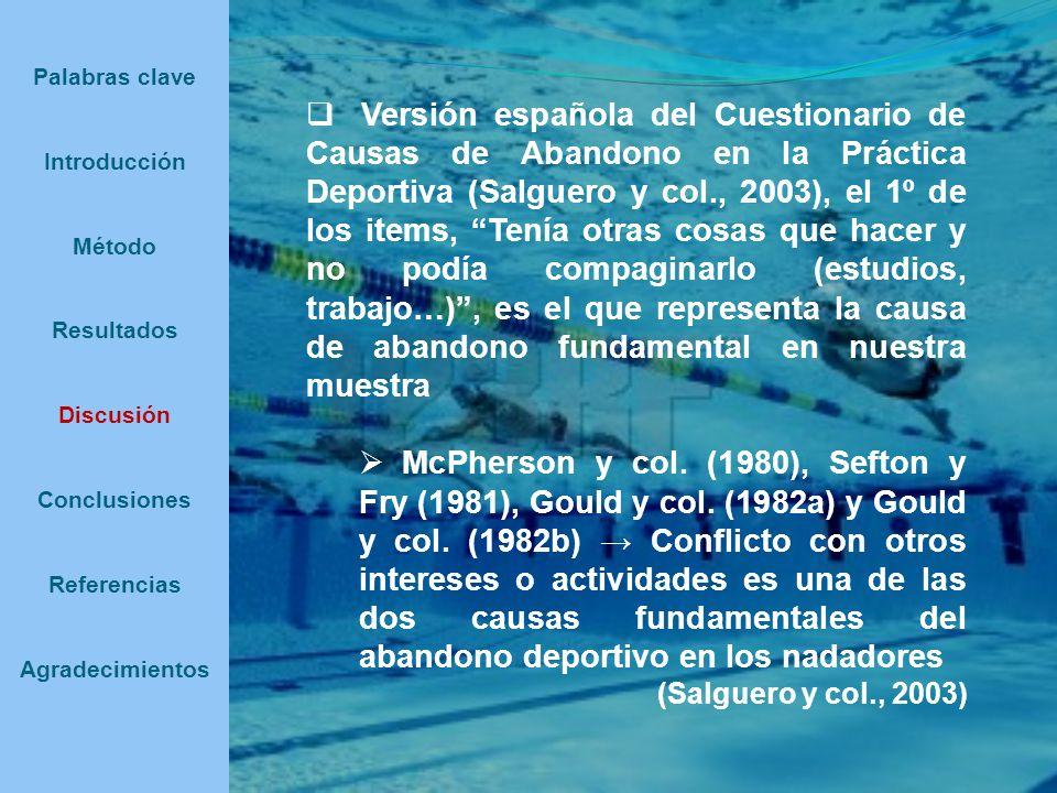 Versión española del Cuestionario de Causas de Abandono en la Práctica Deportiva (Salguero y col., 2003), el 1º de los items, Tenía otras cosas que ha