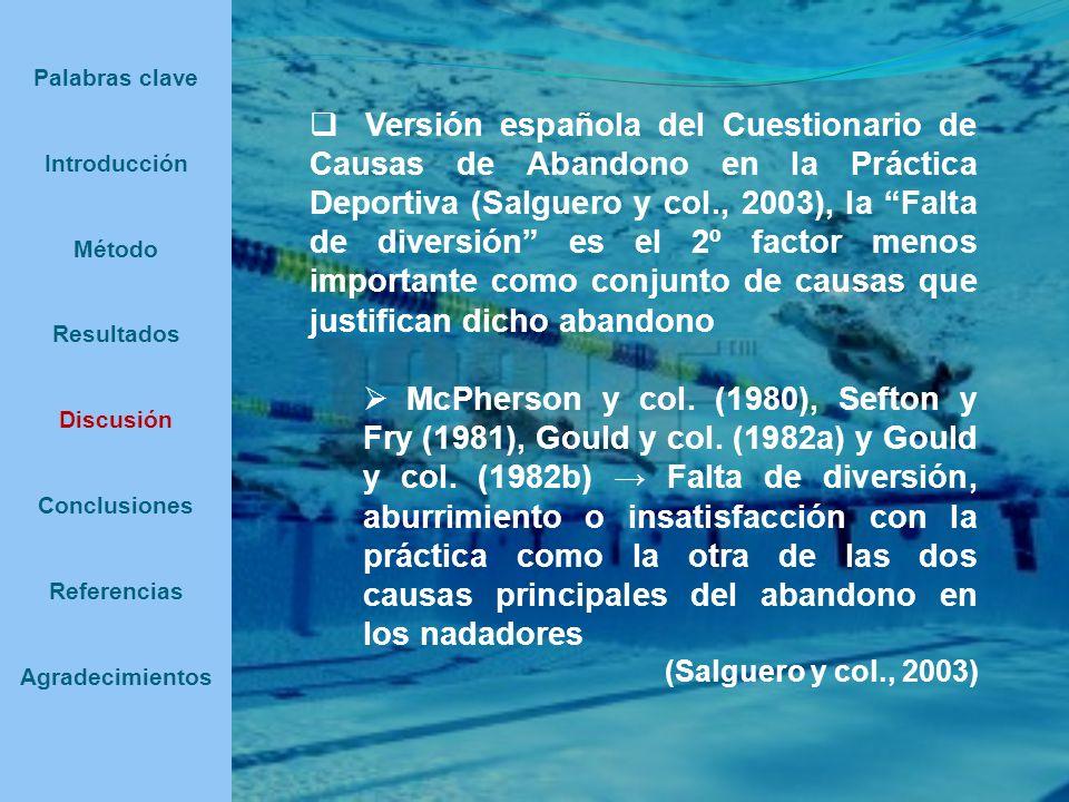 Versión española del Cuestionario de Causas de Abandono en la Práctica Deportiva (Salguero y col., 2003), la Falta de diversión es el 2º factor menos