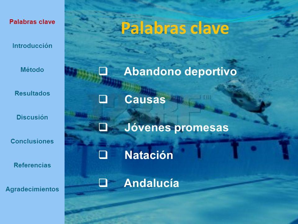 Método Participantes Nadadores y nadadoras federados en clubes deportivos andaluces, nacidos entre los años 1985 y 1989 para los primeros y entre 1987 y 1991 para las segundas, que hubiesen logrado estar entre los tres primeros puestos en pruebas individuales en alguno de los campeonatos de España de natación celebrados entre los años 2000 y 2003, ambos inclusive Palabras clave Introducción Método Resultados Discusión Conclusiones Referencias Agradecimientos 32 sujetos, 18 varones y 14 mujeres, pertenecientes a las provincias andaluzas de Córdoba, Sevilla, Cádiz, Málaga y Granada