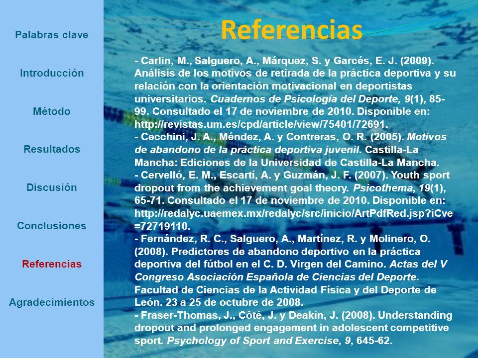 Referencias Palabras clave Introducción Método Resultados Discusión Conclusiones Referencias Agradecimientos - Carlin, M., Salguero, A., Márquez, S. y