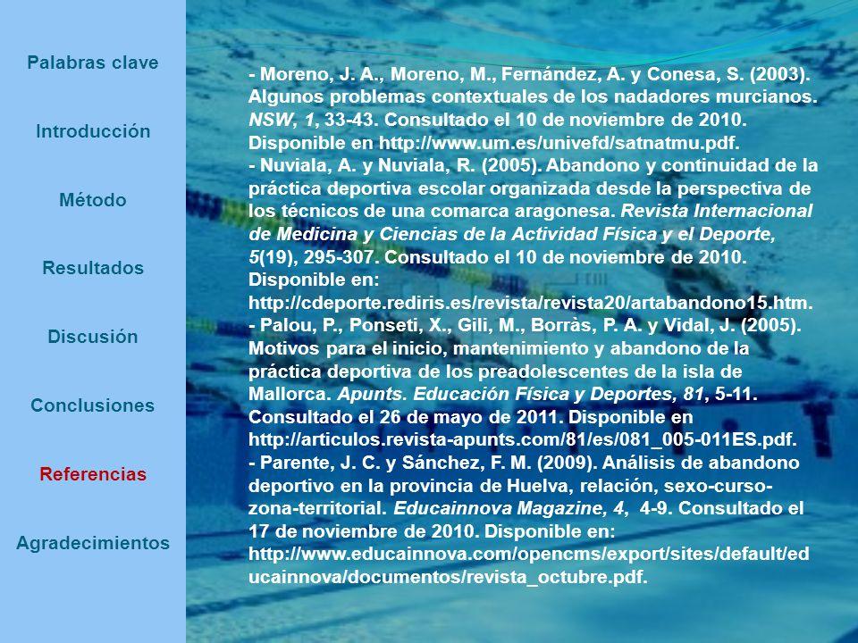 Palabras clave Introducción Método Resultados Discusión Conclusiones Referencias Agradecimientos - Moreno, J. A., Moreno, M., Fernández, A. y Conesa,