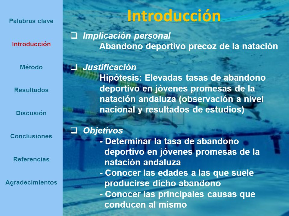 Introducción Implicación personal Abandono deportivo precoz de la natación Justificación Hipótesis: Elevadas tasas de abandono deportivo en jóvenes pr
