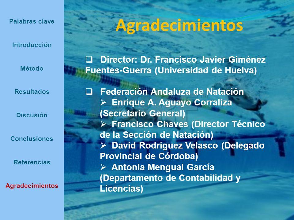 Agradecimientos Palabras clave Introducción Método Resultados Discusión Conclusiones Referencias Agradecimientos Director: Dr. Francisco Javier Giméne
