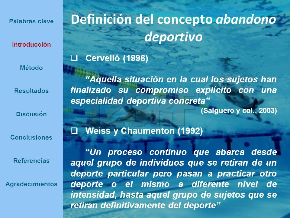 Definición del concepto abandono deportivo Cervelló (1996) Aquella situación en la cual los sujetos han finalizado su compromiso explícito con una esp