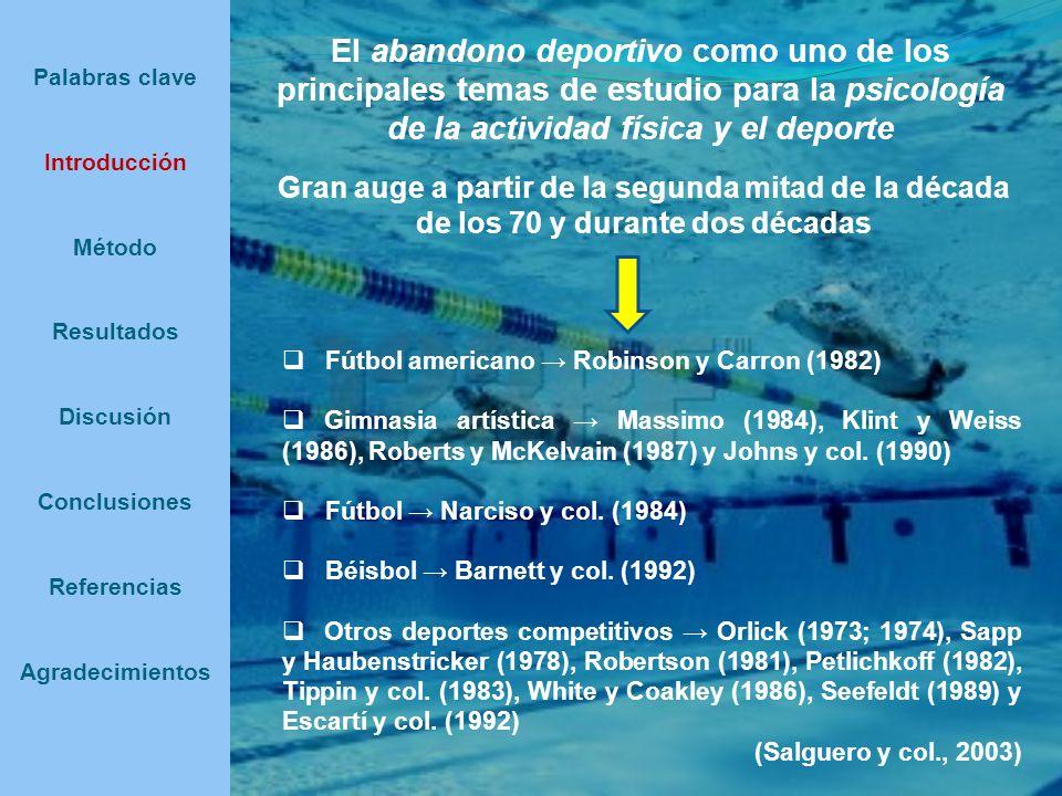 El abandono deportivo como uno de los principales temas de estudio para la psicología de la actividad física y el deporte Gran auge a partir de la seg
