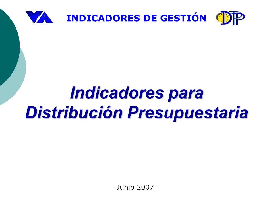 INDICADORES DE GESTIÓN Indicadores para Distribución Presupuestaria Junio 2007